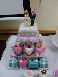 Bridal fayre display  miniature cakes.