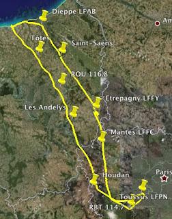 Tracé de l'enregistrement GPS de ma navigation vers Dieppe