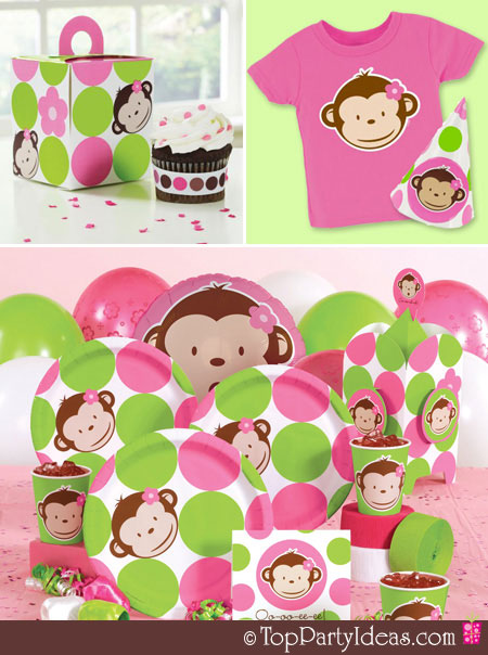 Pink Mod Monkey Centerpiece Ideas : Racks and mooby pink quot mod monkey party part