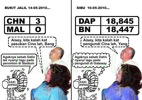 Rosmah kalah badminton pada China, Najib kalah pilihanraya pada China (Rosmah lost in badminton to the Chinese, Najib lost in election to the Chinese). klakka-la.blogspot