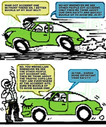 Seat belts for police only (Talipinggang keledar cuma untuk polis).  klakka-la.blogspot