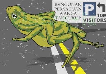 Si-Katak zah-Ong-rain melompat2 ke sana ke mari dalam kesukaan hingga sampai ke bangunan persatuan warga tak cukup (The Frog zah-Ong-rain leaping here and there in ecstasy until he reaches the pwtc building). klakka-la.blogspot