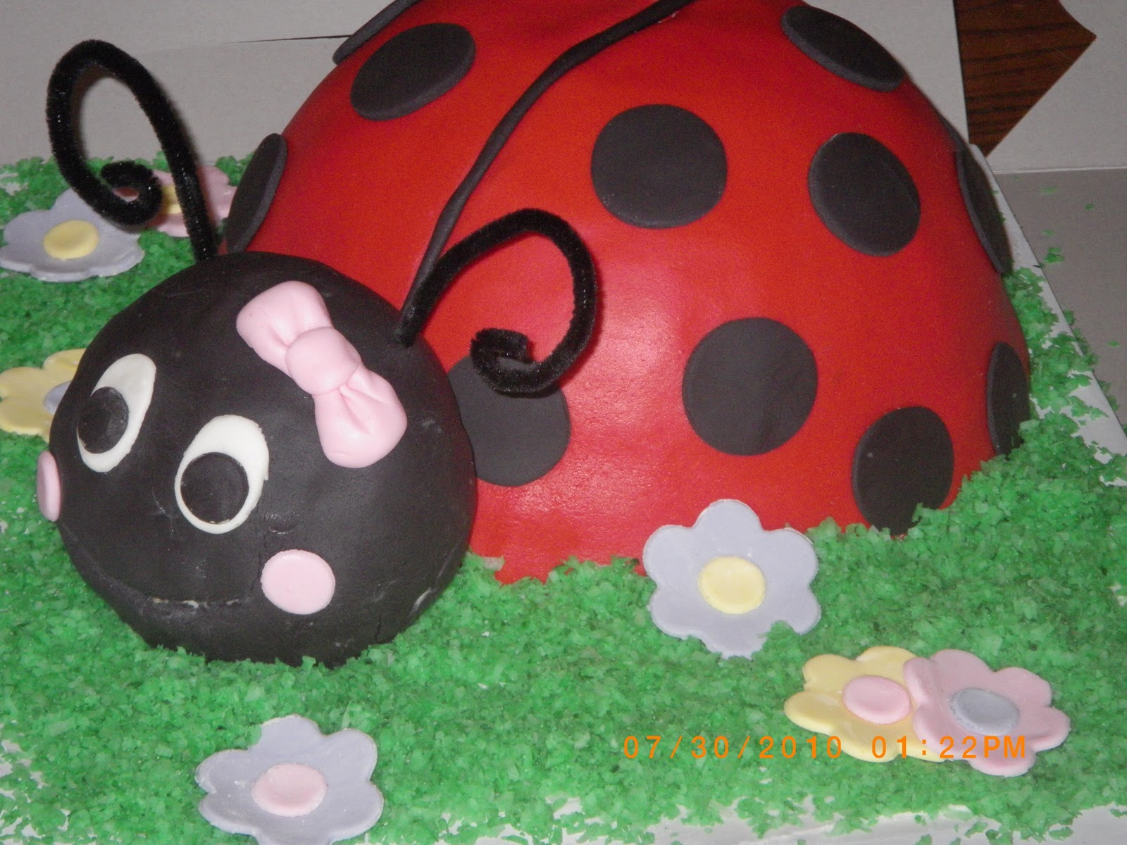 This Cake Was A Huge Hit For Little Girls FIRST Birthday Party The Ladybug Head Made Of Rice Krispie Treats Then Entire Thing Covered In
