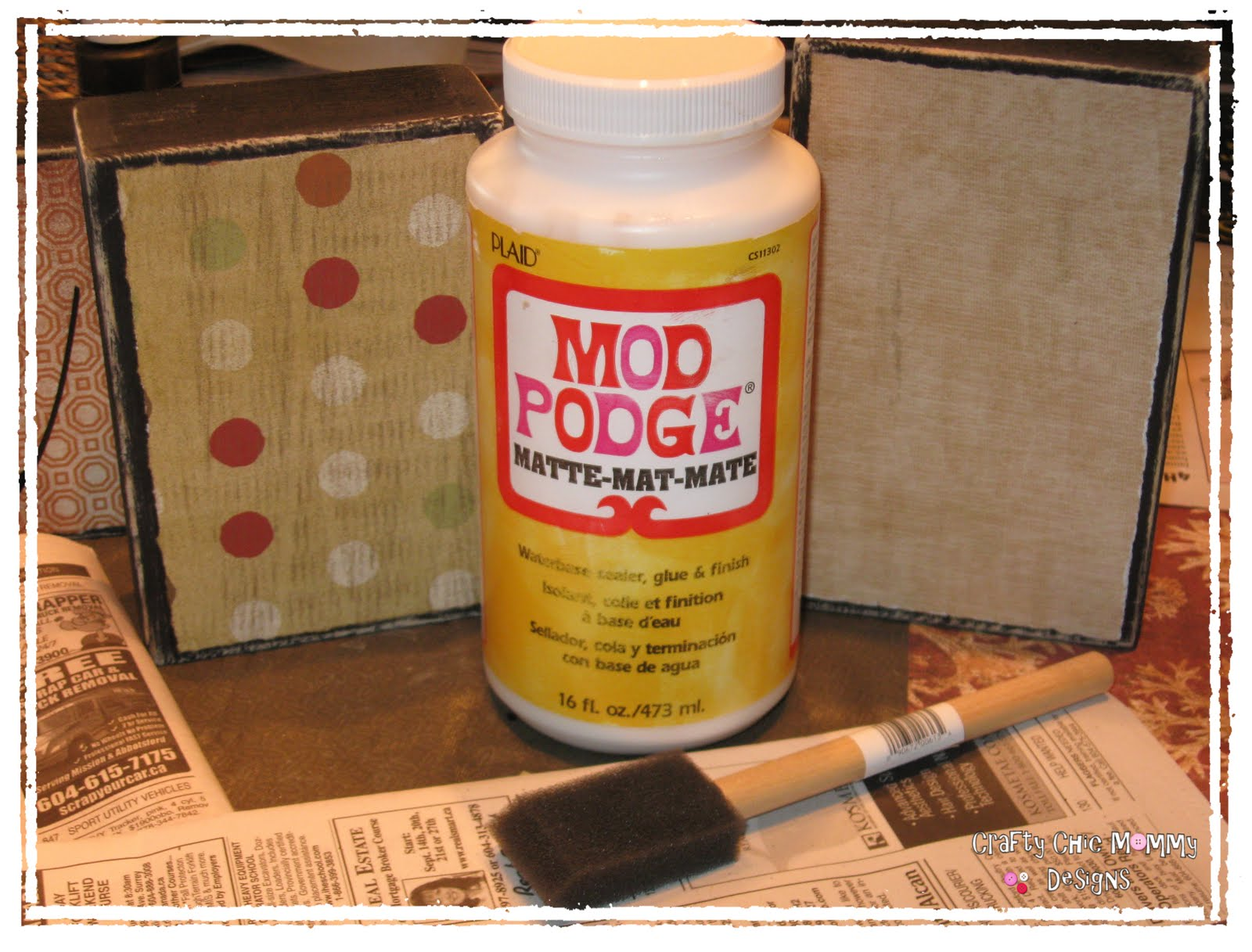 How to put scrapbook paper on wood - Using Mod Podge Glue Your Scrapbook Paper Onto Your Blocks