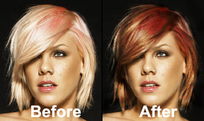 Photoshop Tutorials: How to change hair color.