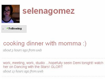 Twitter: twitter.com/selenagomez (no 2nd twitter or personal twitter) faker: