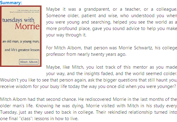 tuesdays with morrie an analysis Tuesdays with morrie is a really touching book that makes you think about life in a different way, from a different point of view it is a relly great book that everyone should read and learn from it.