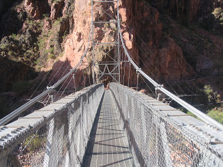 On the Bright Angel Trail bridge.  (It's downriver of the South Kaibab Trail one.)