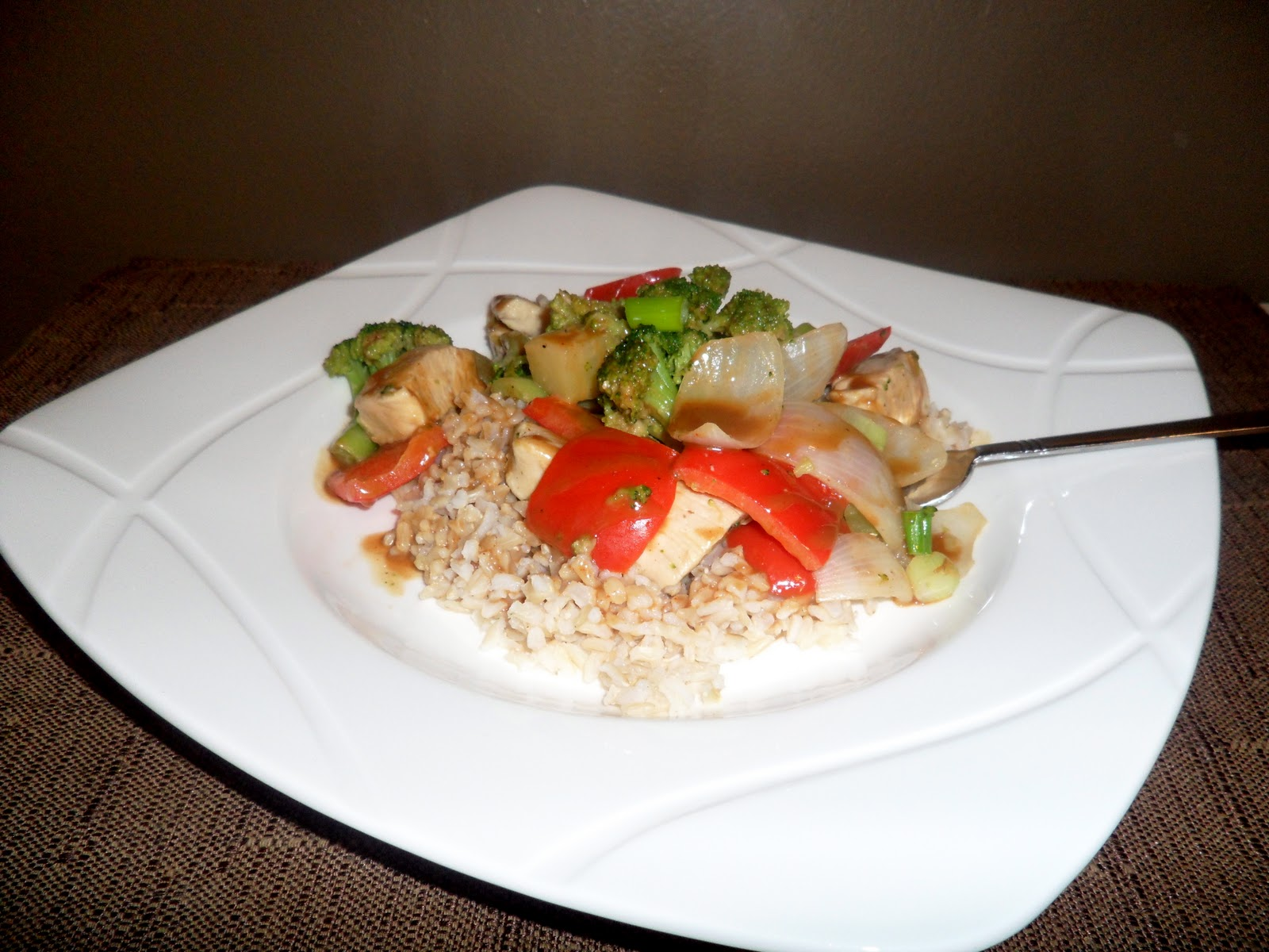 New Chapter...: Spicy Peanut Chicken with Vegetables and Rice