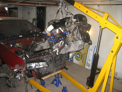 Install Nissan Engine into car with Engine crane