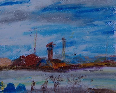 South Dock from North Dock, oil pastel March 07