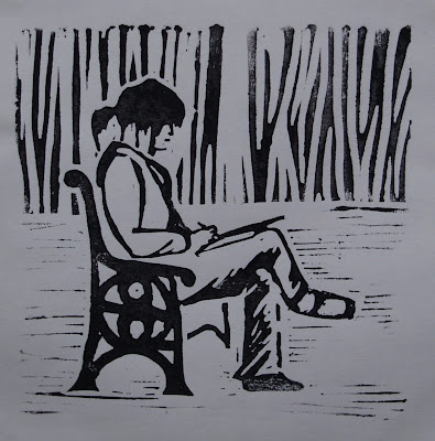 Girl in Roker Park, linocut