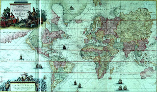 World map in Mercator projection by van Keulen, about 1720