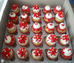 Moist vanilla cupcake topped with vanilla frosting in pure white and red-hot colors