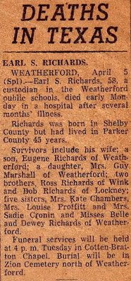 Earl Sanford Richards Obituary Newspaper Clipping