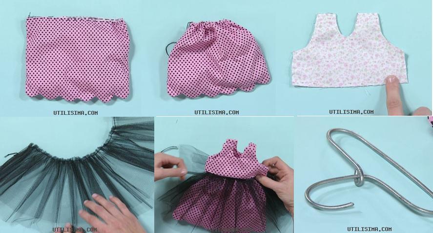Colocar sobre la pollera de tela y luego la pechera por encima. Pegar