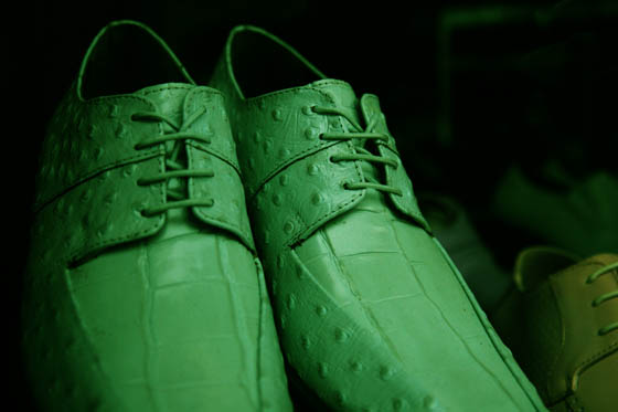 A pair of green, snakeskin shoes in a window display in Providence, Rhode Island.