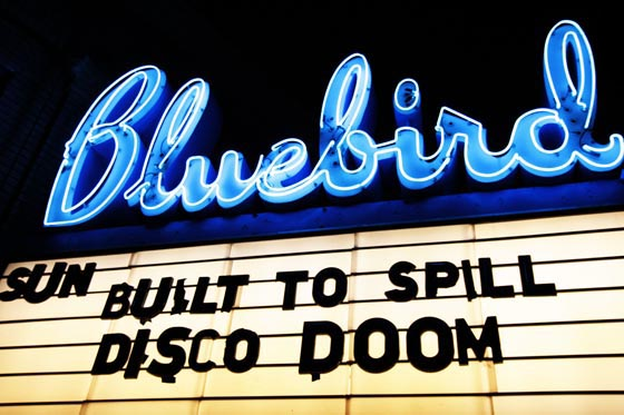 Built to Spill on the Bluebird Theater Marquee in Denver, Colorado.