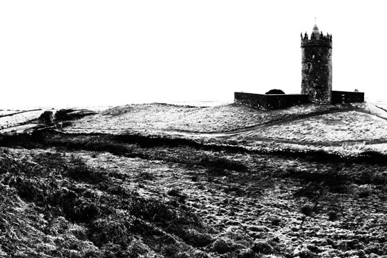 A castle on the west coast of island near Dingle on a cold winter morning.