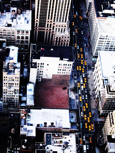 Looking down at New York City cabs from the top of the Empire State Building.