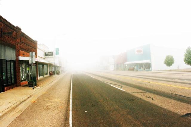 Dense fog while driving down the main drag in  Elmore City, Oklahoma.