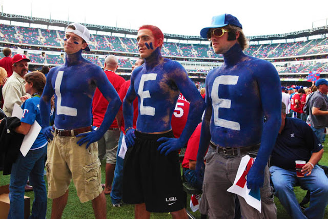Cliff Lee fans wearing body paint to show their support before game 5 of the 2010 World Series at Rangers Ballpark in Arlington.