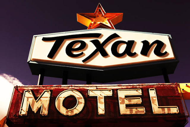 The Texan Motel neon sign in Raton, New Mexico.
