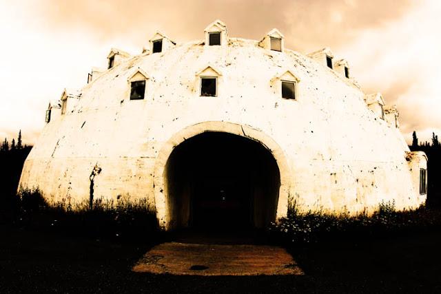 The abandoned Igloo City building shaped like a giant igloo in Cantwell, Alaska