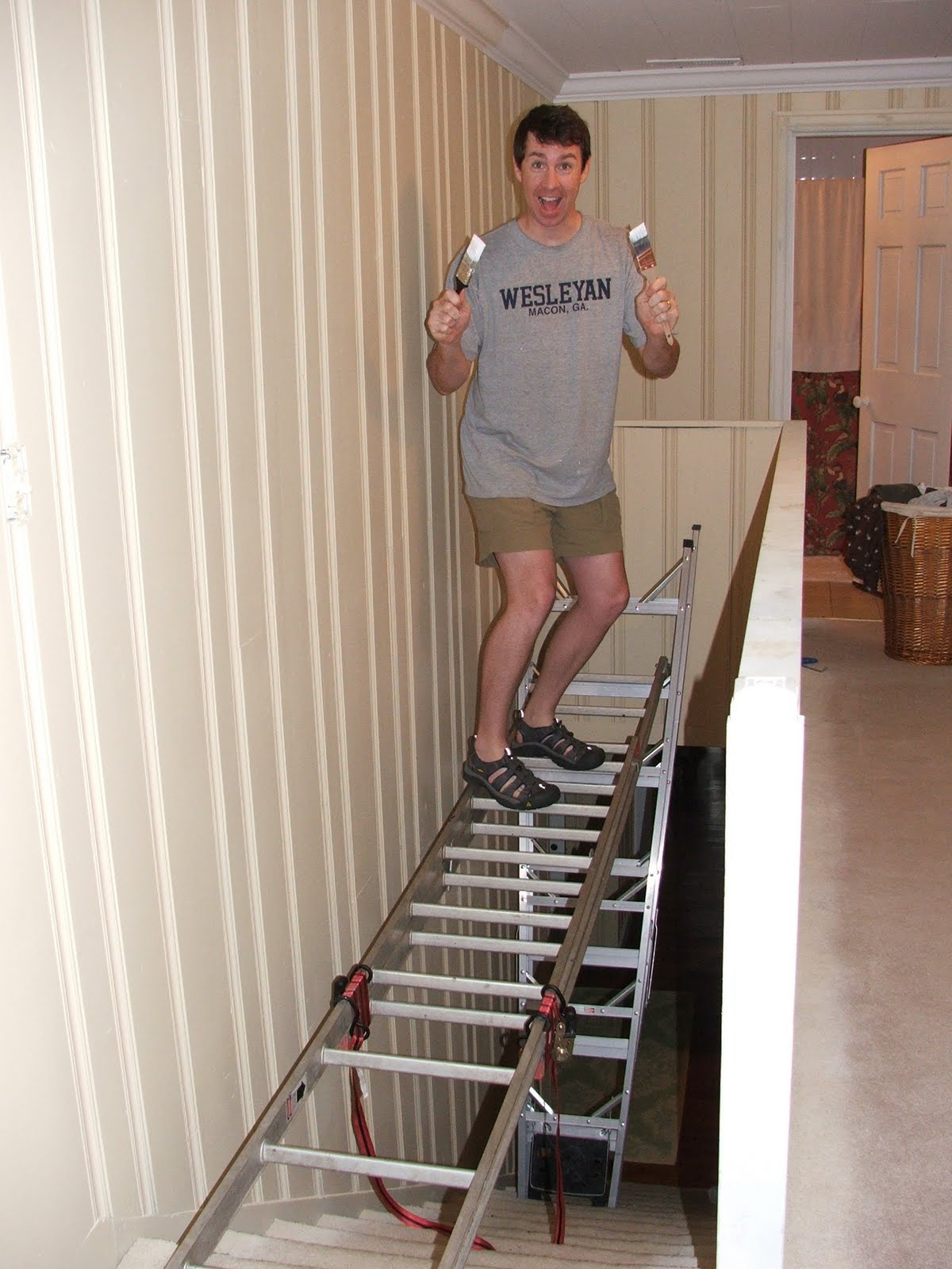 House project progress - How to put ladder on stairs ...