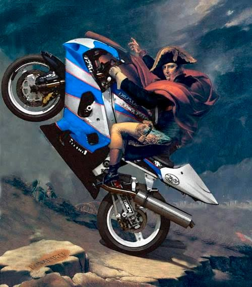 Napoleon Bonaparte On Motorcycle