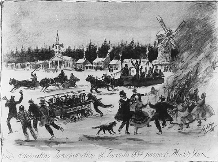 a sketch showing the townpeople celebratnig charter of Toronto in 1832