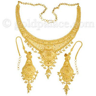 Gold Necklace And Earring Set 22k