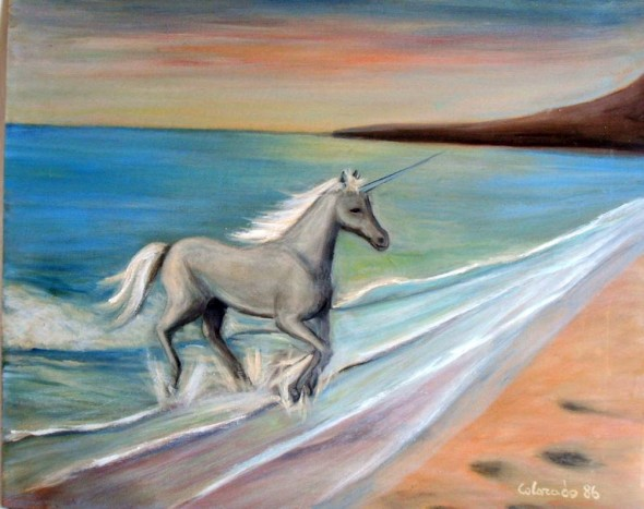 EL BAÑO DEL UNICORNIO. OIL PAINTING.