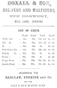 Trade Advertisement of Boxalls Sun Brewery, c1885
