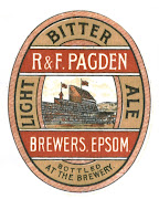 Light Bitter Ale label of Pagden&#39;s Hope Brewery, Epsom