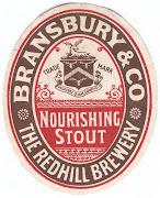 Bransbury & Co's Nourishing Stout label c1906-1913
