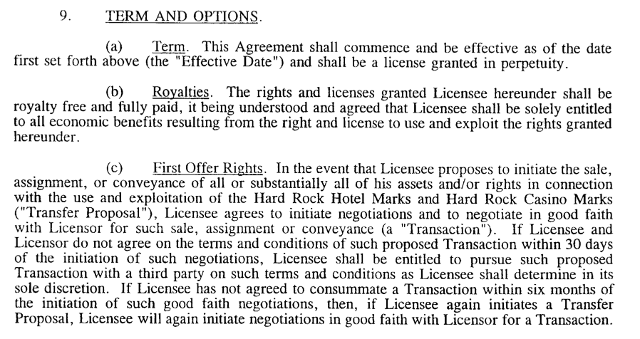 Why you dont allow assignment of trademark license agreements but you cant second guess what leverage anyone has in negotiation particularly when licensing back to the original trademark owner platinumwayz