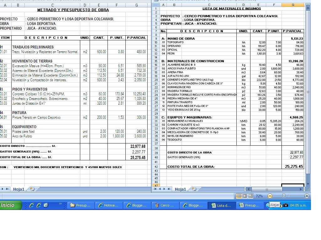 Juventud colquina en ayacucho juca colca presupuesto de for Presupuesto piscina obra
