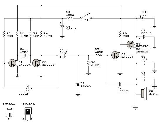 circuitos de electronica  electronic bird chirper