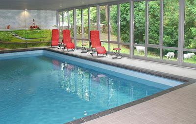 Hotel Eulenhof Hallenschwimmbad mit Blick in den Dünengarten