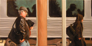 Daily Painting, Oil, Sketch, Train