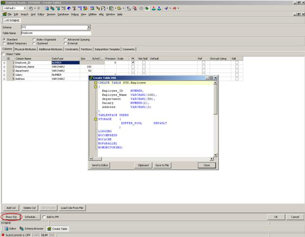 Create tables in oracle database using toad for Table design oracle