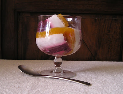A fruit jelly made with blackberry juice, coconut milk and passionfruit juice