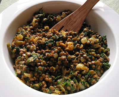 Lentil, Roasted Onion & Spinach Salad