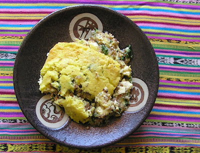 Corn Pudding with Buckwheat, Spinach and Feta Cheese