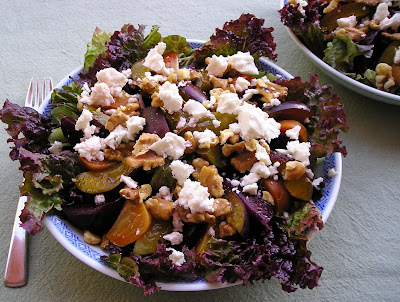 Beet and Plum Salad with Walnuts and Cheese