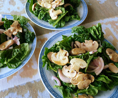Spinach Salad with Marinated Onions & Mushrooms