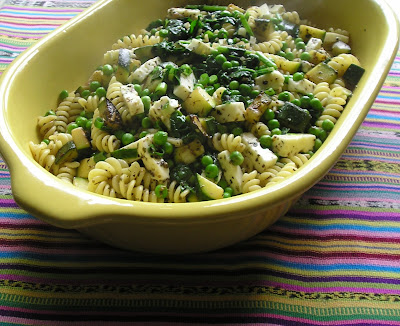 Pasta with Peas, Spinach, Sauteed Zucchini and Feta Cheese