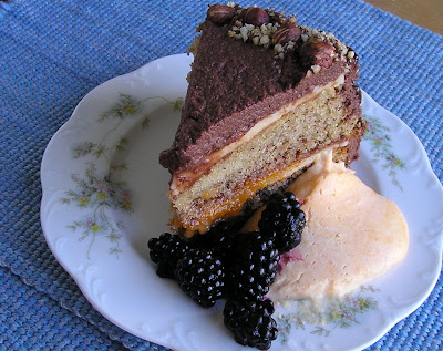 Hazelnut Torte served with Apricot Mousse and Blackberries