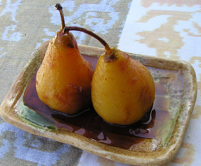 Tea Poached Pears with Honey